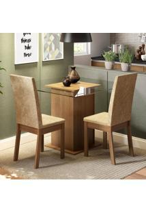 Conjunto Sala De Jantar Madesa Tamy Mesa Tampo De Vidro Com 2 Cadeiras Marrom - Tricae