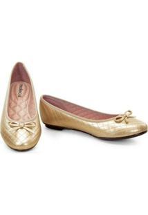 Sapatilha Moleca Com Laço Feminina - Feminino-Dourado
