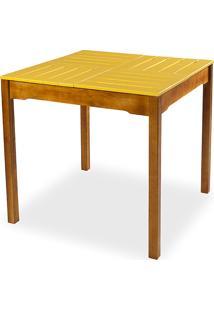 Mesa De Jantar Compacta De Madeira Maciça Taeda Natural Com Tampo Colorido Olga – Verniz Nozes/Amarelo 80X80X75Cm