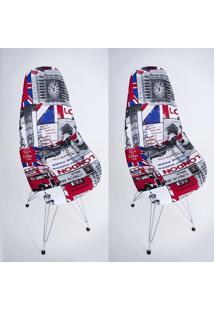 Kit Com 02 Capas Para Cadeira Base Madeira Eiffel Wood Londres - Kanui