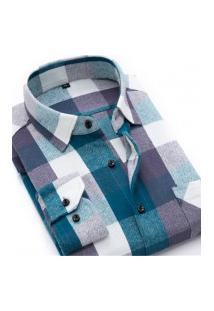 Camisa Xadrez Masculina Slim Fit Alabama - Azul Lago E Roxo