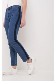 Calça Jeans Reta Com Faixa Lateral