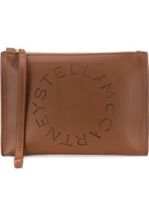 Stella Mccartney Clutch Com Logo Perfurado - Marrom