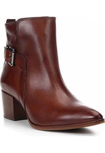 Bota Couro Cano Curto Shoestock Bico Fino Fivela Feminina - Feminino-Marrom