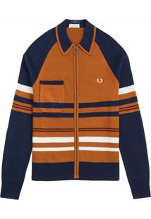 Nicholas Daley Cardigan X Fred Perry Com Zíper - Marrom