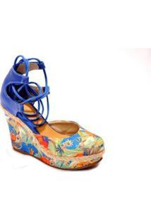 Sandália SyltAnabela Plataforma Em Couro Estampada Feminina - Feminino-Azul