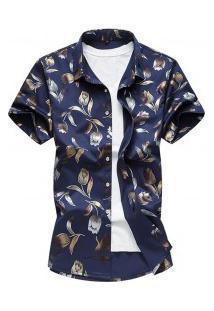 Camisa Masculina Estampa De Rosas - Azul Escuro