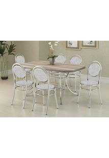 Mesa 1507 Nogueira Cromada Com 6 Cadeiras 190 Fantasia Branco Carraro