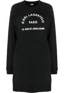 Karl Lagerfeld Vestido De Moletom Rue St Guillaume - Preto