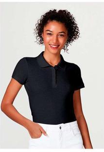 Camisa Polo Básica Feminina Em Malha Piquet Preto