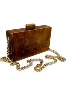 Bolsa La Madame Co Clutch Retangular Caramelo