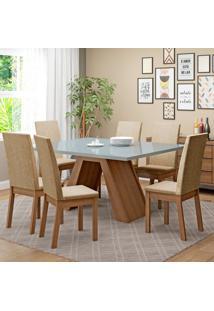 Conjunto De Mesa De Jantar Com 6 Lugares Vênus Suede Imperial Rustic E Bronze