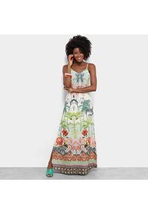 Vestido Longo Lily Fashion Estampa Paisagem Alças Finas - Feminino-Bege