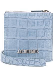 Jacquemus Bolsa Tiracolo Com Efeito De Pele De Crocodilo - Azul