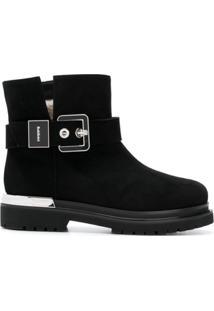 Baldinini Ankle Boot De Couro Com Fivela - Preto