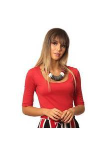 Blusa Ficalinda Meia Manga Vermelha Decote Redondo