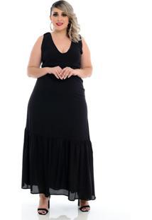 Roupas Plus Size Domenica Solazzo Vestidos Longos Preto - Kanui