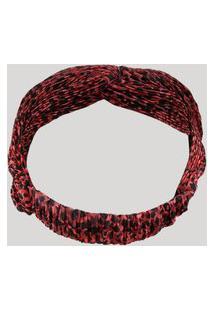 Faixa De Cabelo Estampada Animal Print Vermelha