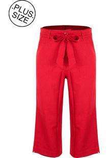 Calça Linho Linda D Pantacourt Com Bolsos Plus Size H3525