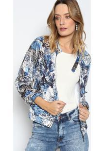 Jaqueta Floral Aveludado- Branca & Azullez A Lez