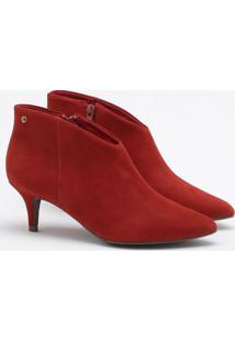 Ankle Boot Nobuck Vermelha