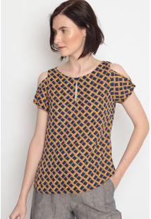 Blusa Geomã©Trica Com Recortes- Azul Escuro & Amarelo Escmiliore