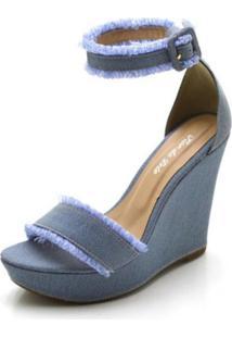Sandália Anabela Salto Alto Confort Em Tecido Jeans