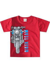 "Camiseta ""Biker Team""- Vermelha & Cinza- Primeiros Pbrandili"