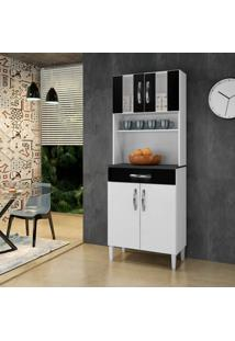 Armário De Cozinha Milão Branco/Preto 4 Portas 1 Gavetão - Arte Móveis
