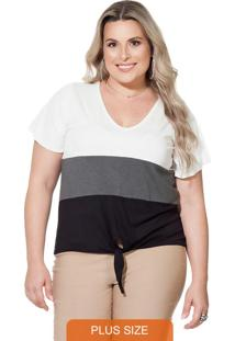 Blusa Plus Size Off White Berthage