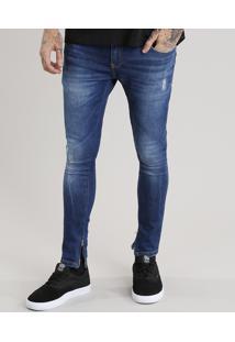 Calça Jeans Masculina Super Skinny Em Algodão + Sustentável Azul Escuro