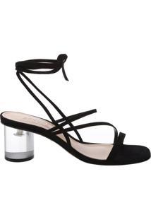 Sandália Crystal Heel Strings Black | Schutz