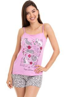 Pijama Short Doll Verão Alcinha Yoga Com Algodão Luna Cuore