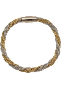 Bracelete De Aço Inox Tudo Joias Dupla Cor 6Mm De Largura Entrelaçado - Unissex