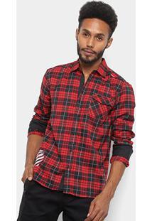 Camisa Xadrez Overcore Flanela Estampa Listrada Masculina - Masculino-Vinho