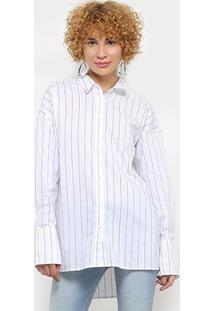 Camisa Colcci Manga Longa Listrada Feminina - Feminino-Azul+Branco