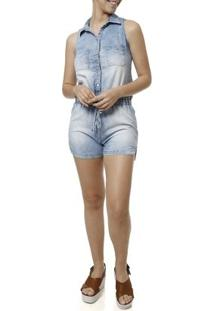 Macacão Jeans Feminino - Feminino-Azul