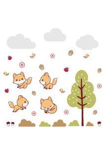 Adesivo De Parede Raposinha Na Floresta Infantil