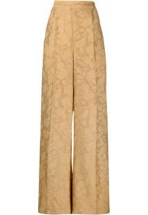 Atu Body Couture Calça Pantalona De Jacquard Com Padronagem - Dourado