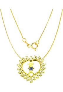 Gargantilha Prata Mil Menino C/ Zircã´Nia Folheado Em Ouro Dourado - Dourado - Feminino - Dafiti
