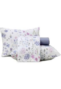 Jogo De Cama King Altenburg Malha In Cotton 100% Algodão Soft Flower - Branco Roxo