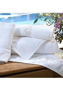 Toalhas De Banho Gigante Vietri Cor Branco E Palha Com 5 Peças - Ruth Sanches