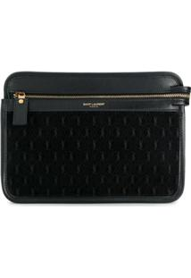 Saint Laurent Clutch Monogramada - Preto