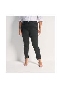 Calça Jeans Skinny Com Barra Assimétrica Curve E Plus Size Preto
