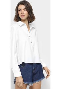 Camisa Lança Perfume Com Botão Manga Longa Feminina - Feminino-Branco