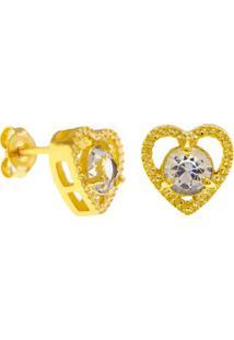 Brinco Horus Import Ponto Luz Coração Cristal Banhado Ouro Amarelo 18 K - 1031130