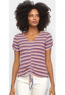 Blusa Favorita'S Listrada Puxador Feminina - Feminino-Vermelho