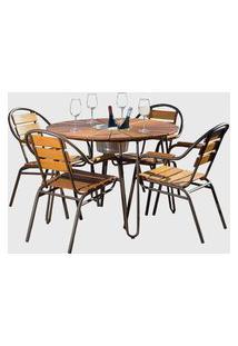 Conjunto De Mesa Em Alumínio E Madeira C/ Cooler E 04 Cadeiras Preto Pressa Móveis