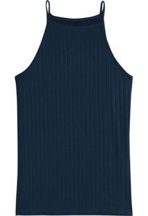 Blusa Azul Marinho Canelada