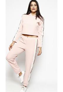 Conjunto De Blusão + Calça Em Paetê- Rosa Claro & Brancochocoleite